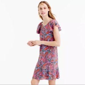 J CREW Vibrant Paisley Silk Flutter Sleeve Dress